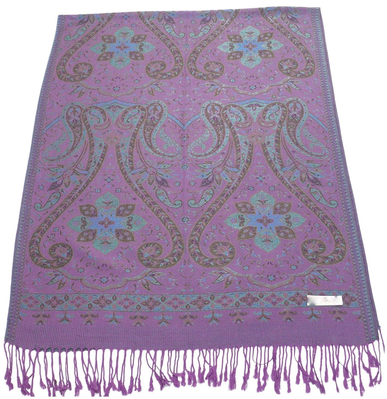 Purple Kud Design 2 Ply Reversible Shawl Pashmina Scarf Wrap Stole CJ Apparel NEW