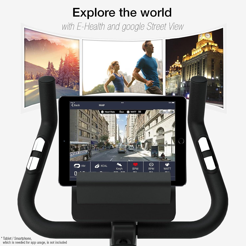 Sportstech Ganador del Test* Bicicleta ESX500 ergómetro con App para Smartphone,función de Street View de Google,Sistema inercial 12kg,Compatible con ...