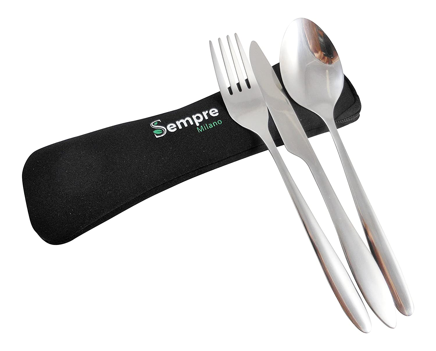 amazon com sempre 3 piece stainless steel utensils to go knife amazon com sempre 3 piece stainless steel utensils to go knife fork spoon portable travel or camping cutlery mess kit with lightweight neoprene pouch
