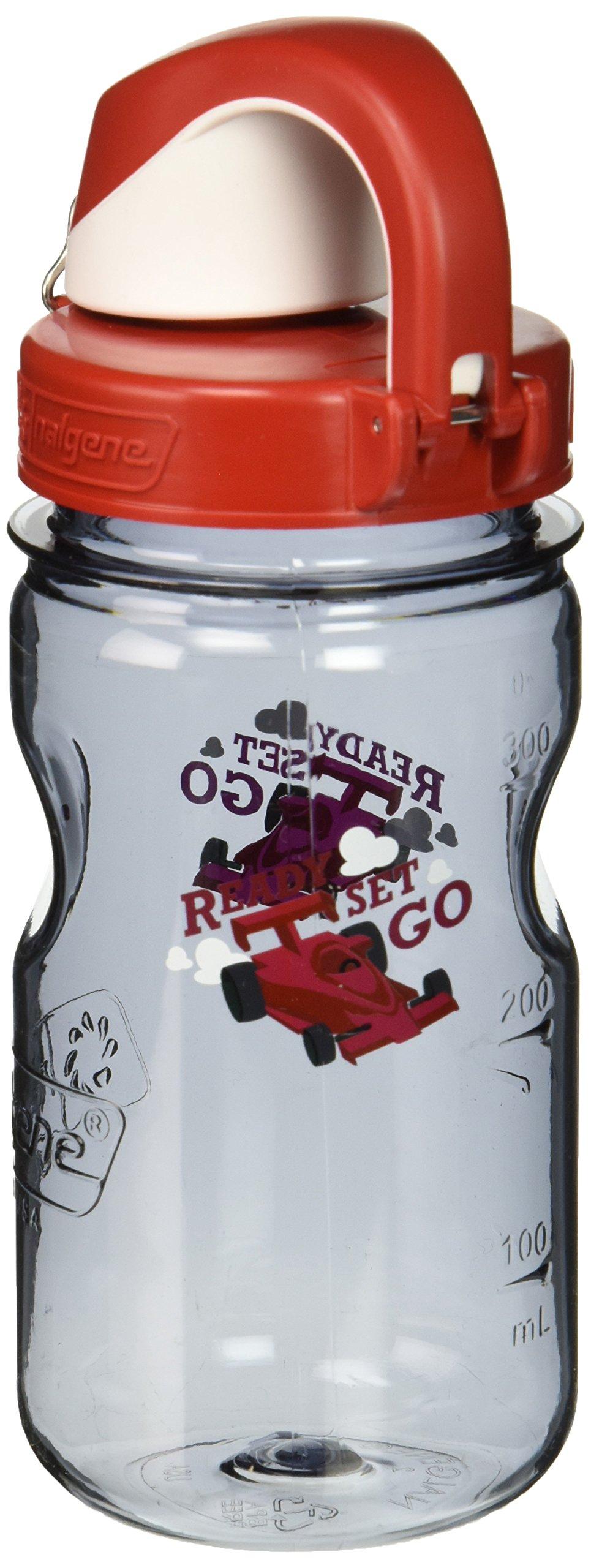 Nalgene Kids Race Car OTF Bottle, 12 oz, Gray/Red