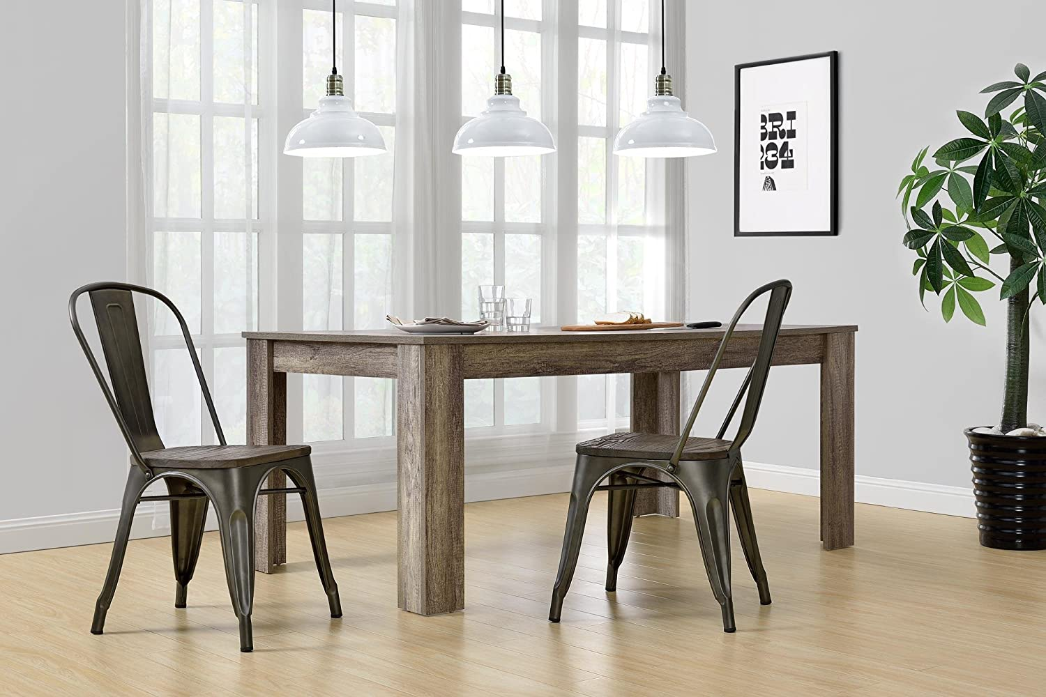 Genial Amazon.com   DHP Fusion Metal Dining Chair With Wood Seat, Set Of Two,  Antique Copper   Chairs