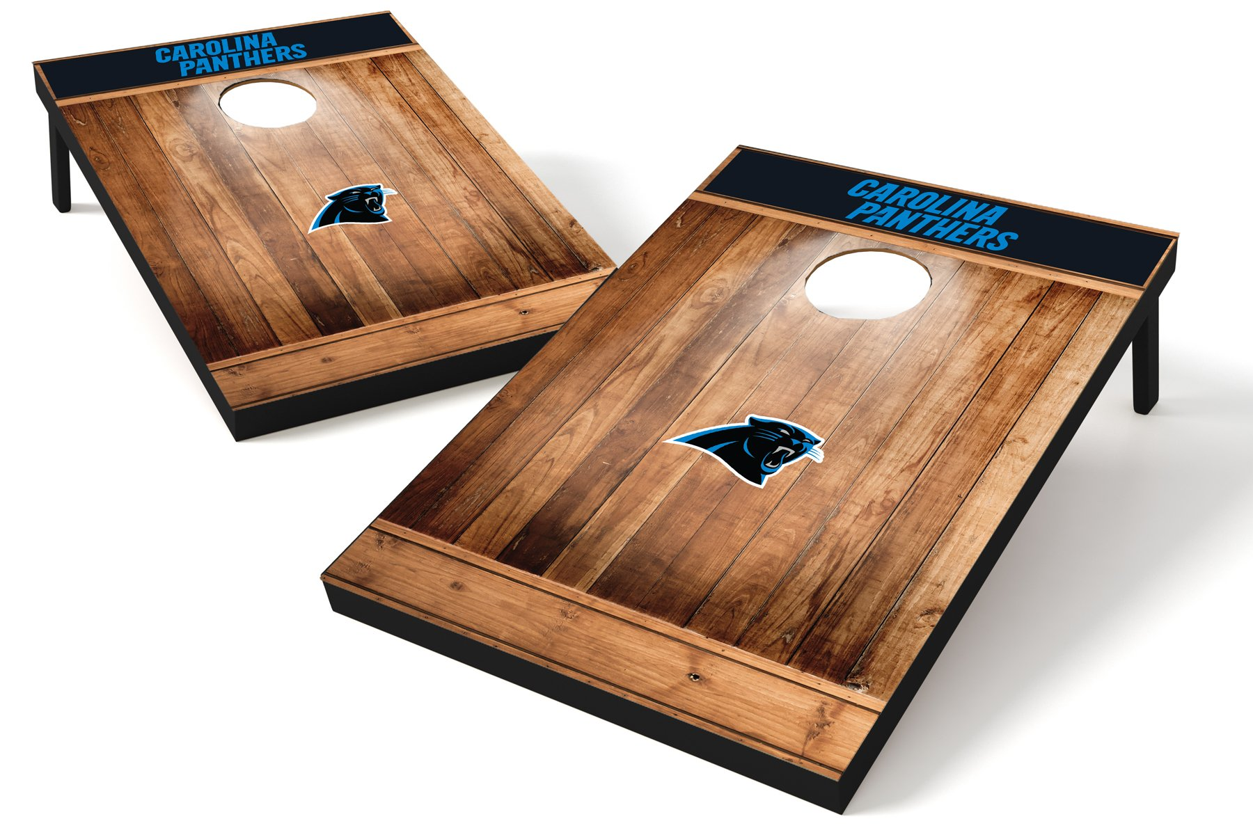 Wild Sports NFL Carolina Panthers 2'x3' Cornhole Set - Brown Wood Design