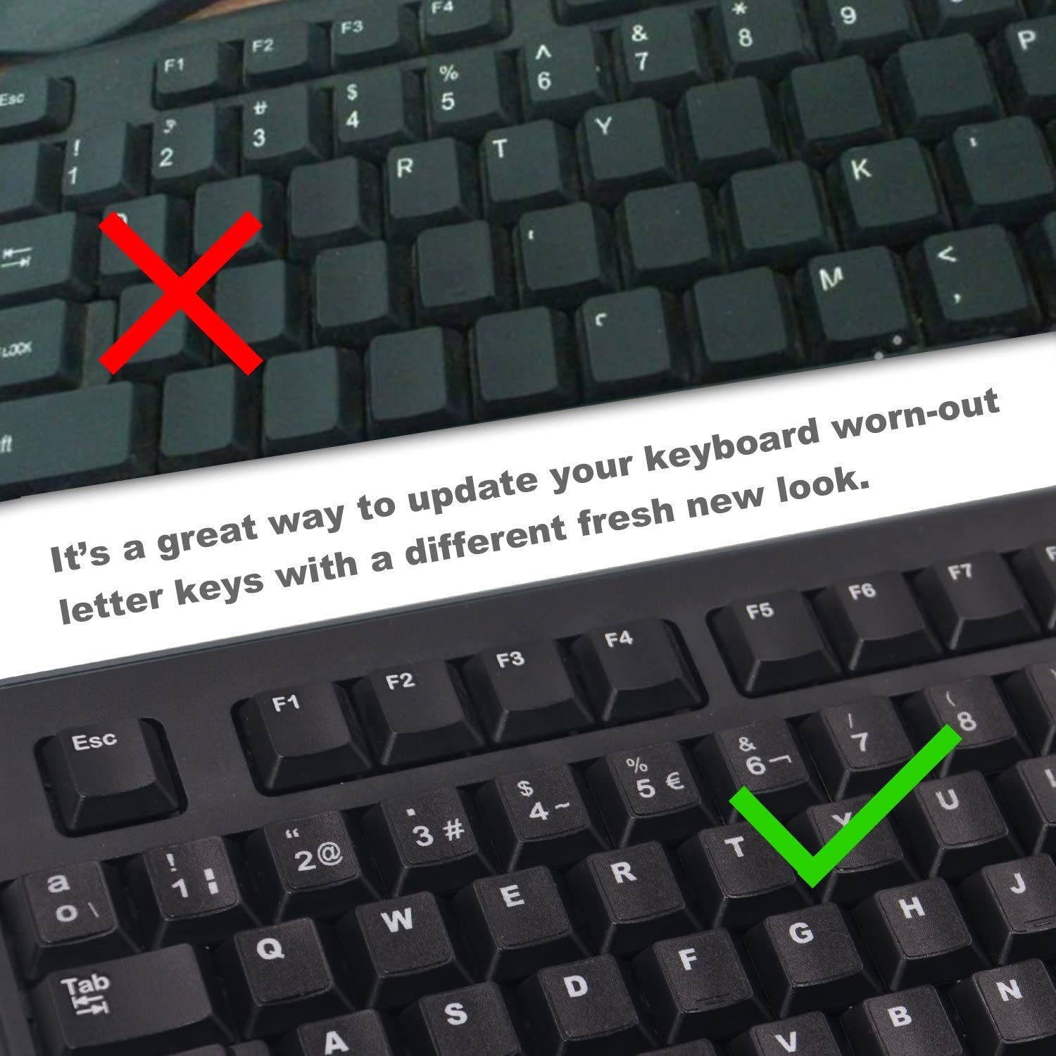 3-Pack Universal Korean Keyboard Stickers Each Unit: 0.43 Wx 0.51 H Replacement Korean English Keyboard Stickers with Black Background and White Lettering for Wire//Wireless Keyboard Korean