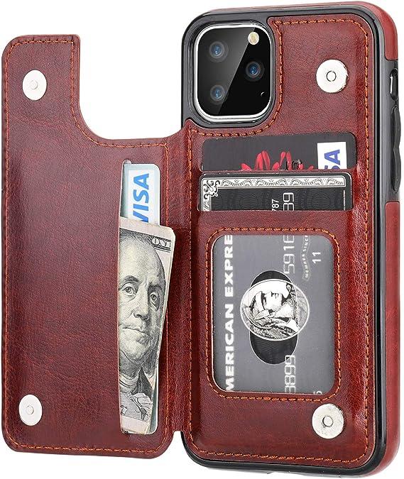 Business Card Wallet Holder 24 Slots Mens Black Brown Faux Luxury Soft PU