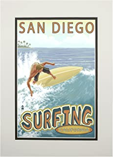 product image for San Diego, California - Surfer Tropical (11x14 Double-Matted Art Print, Wall Decor Ready to Frame)