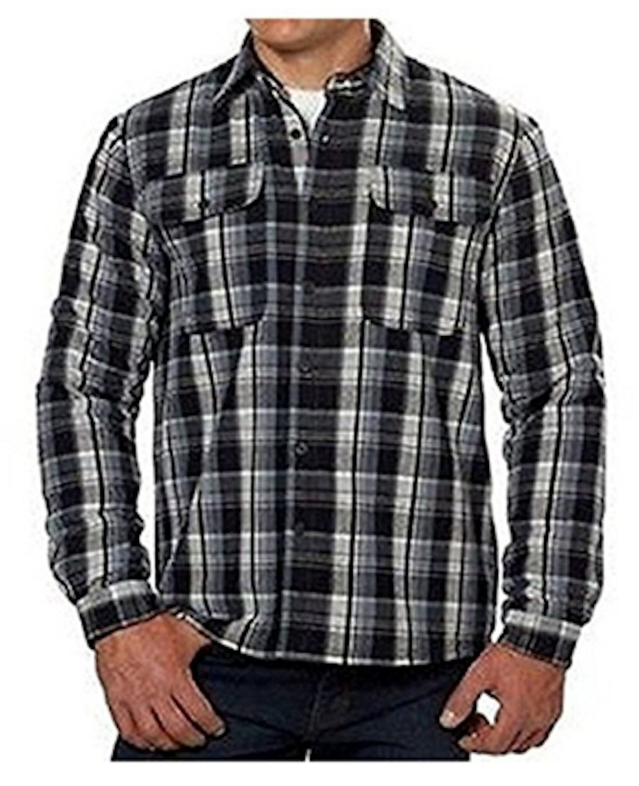 Boston Traders Men's Flannel Jacket Shirt with Fleece Lining- Black White-Large
