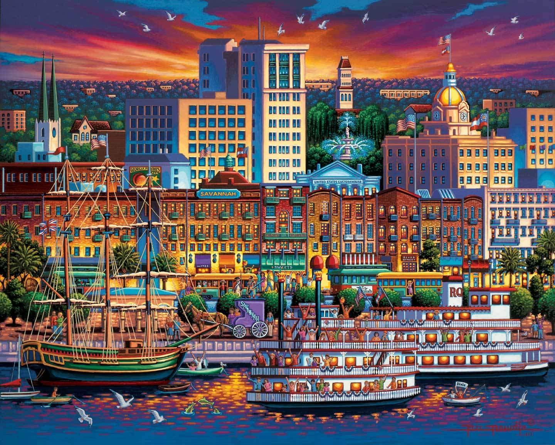 500 Piece Dowdle Folk Art Savannah Dowdle Jigsaw Puzzle