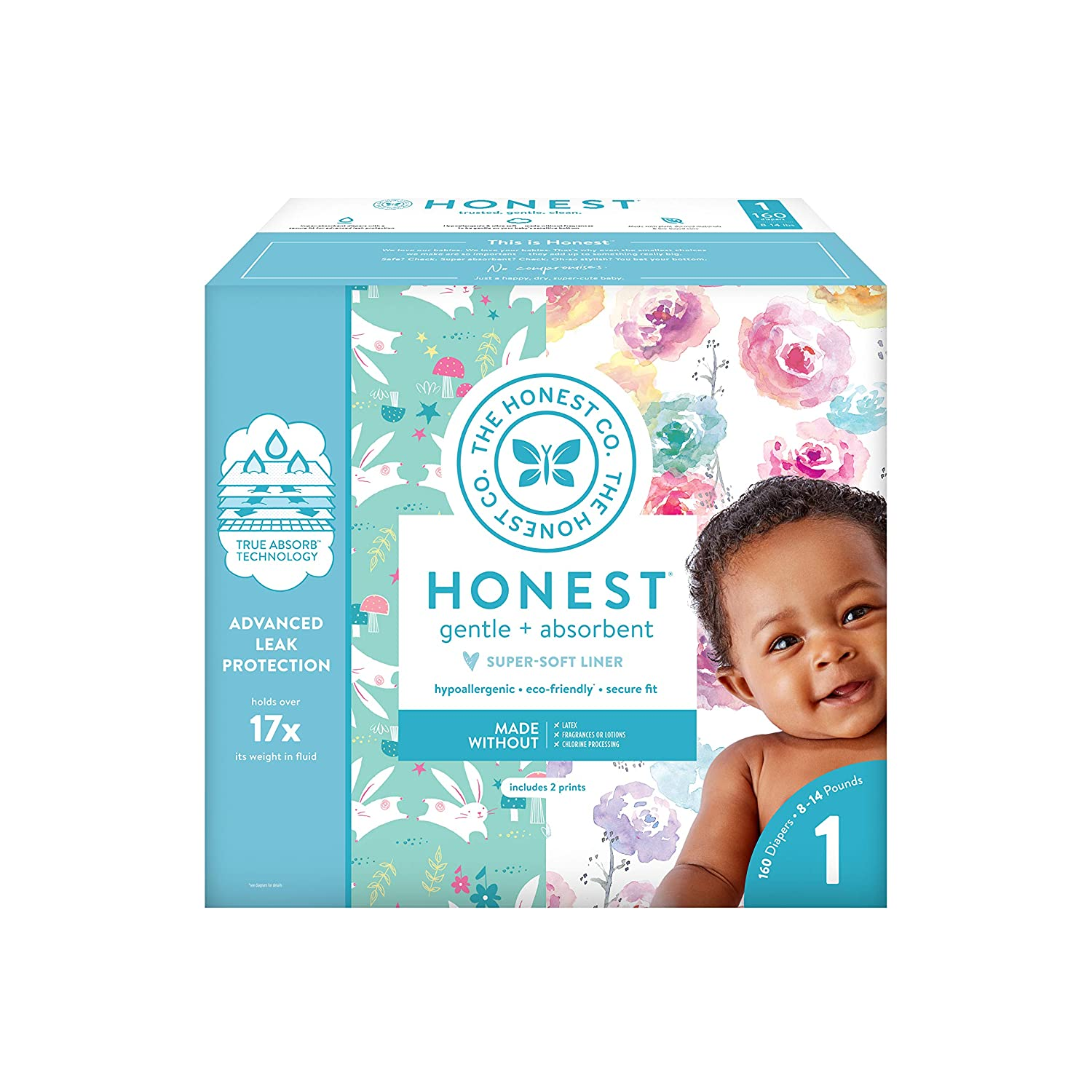 The Honest Company Baby Diapers with TrueAbsorb Technology, Rose Blossom, Size 0 Newborn, 128 Count The Honest Company HPC