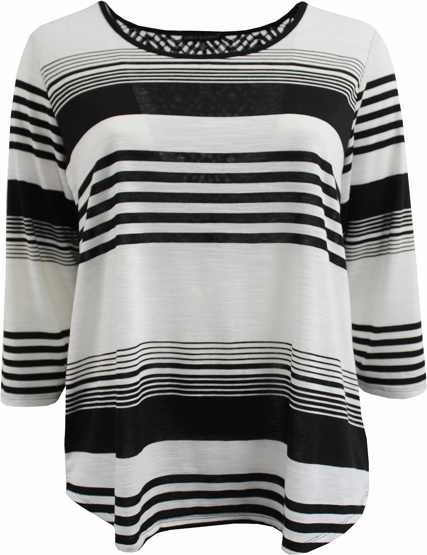 NEW Just  My Size 2X  Raglan S//S Notch Neck Striped Tee Top Black /& White Stripe