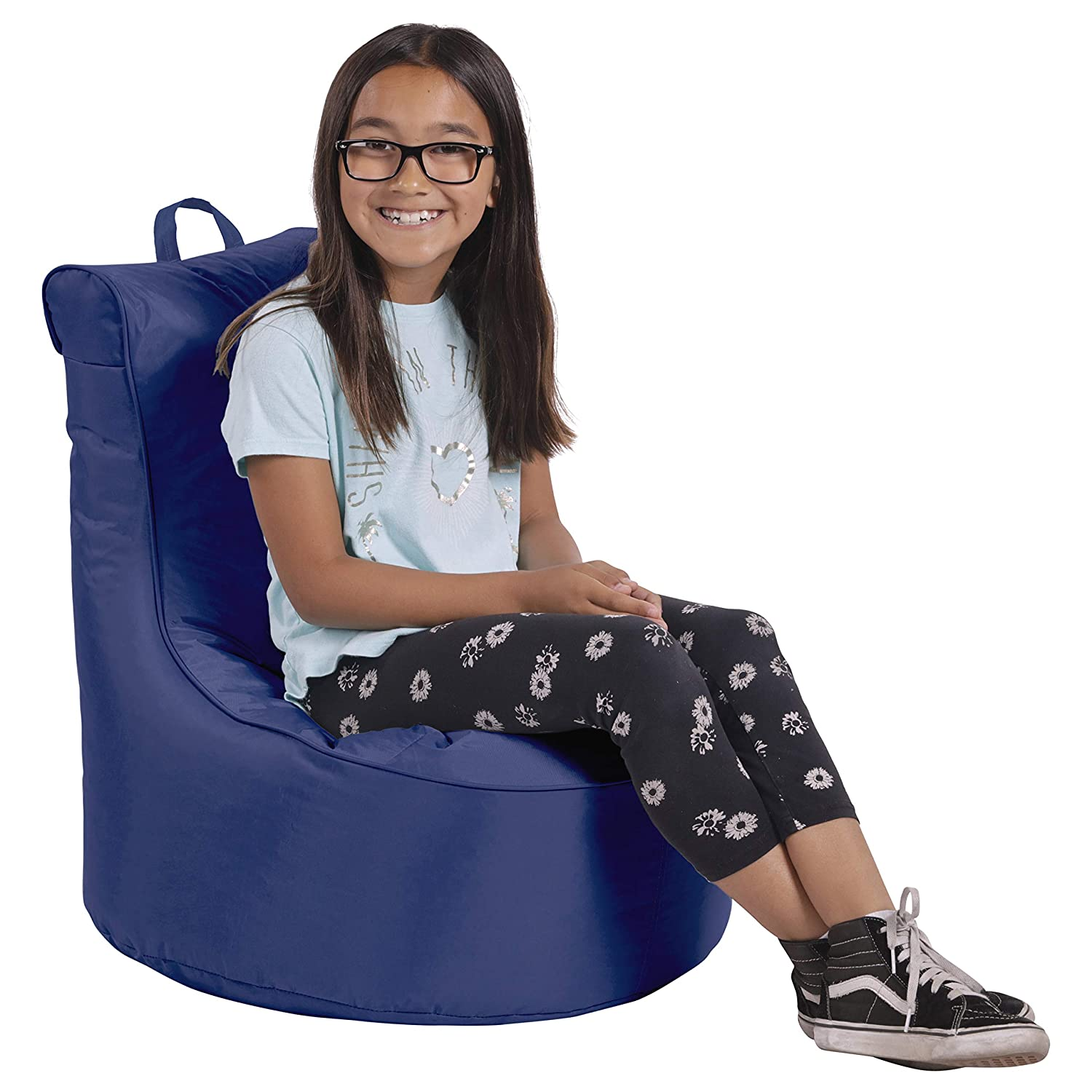 Cali Paddle Out Sack Bean Bag Chair, Dirt-Resistant Coated Oxford Fabric, Flexible Seating for Kids, Teens, Adults, Furniture for Bedrooms, Dorm Rooms, Classrooms - Navy