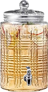Fitz and Floyd 310050-GB 2 Gallon Beverage Drink Dispenser with Glass Lid, Jar only, Clear