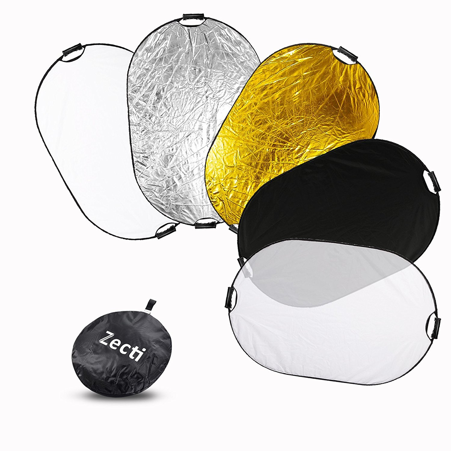 Zecti 5 in 1 Portable Collapsible Multi-Disc Photography Light Reflector, Photo Reflector for Studio/Outdoor Lighting with Bag 40'' x 59'' by Zecti