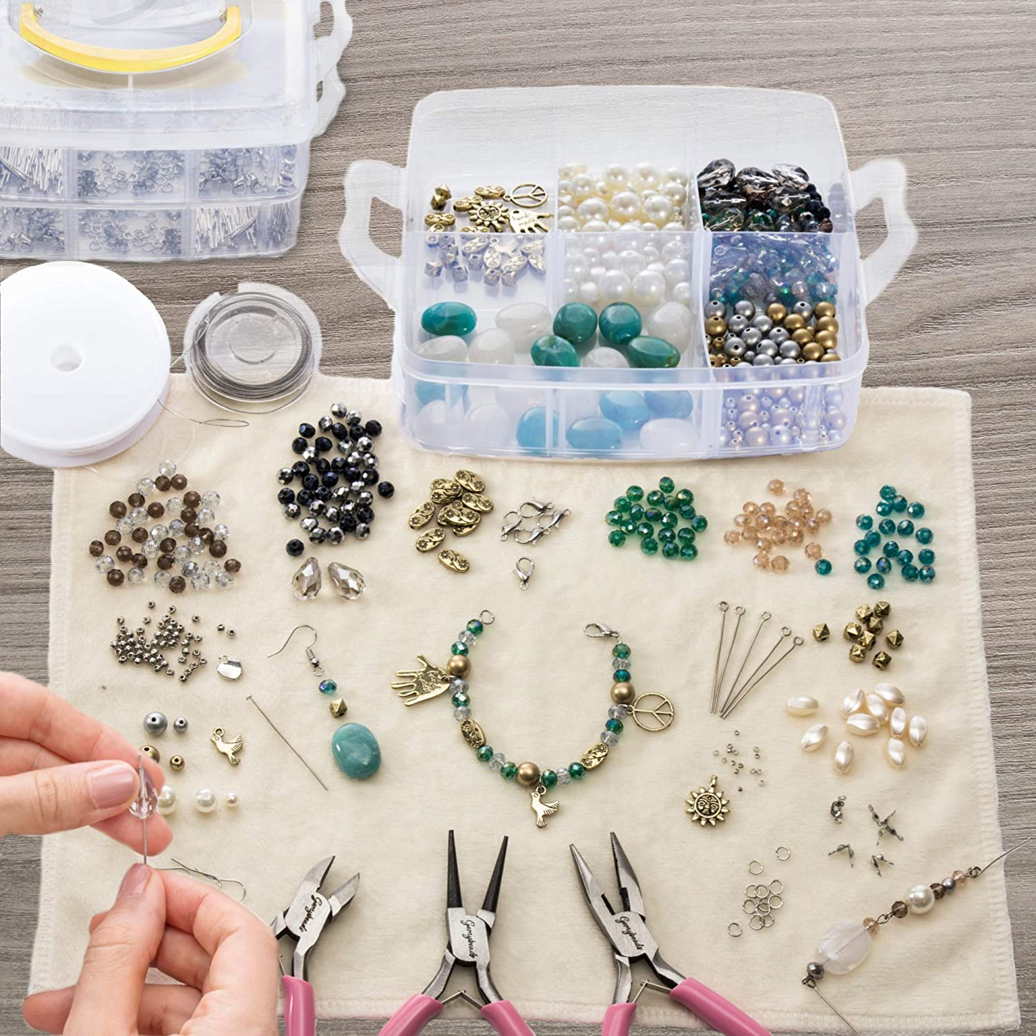Huge Deluxe Jewellery Making Kit with Beads Tools,Findings Booklet & much more Beading & Jewellery Kits