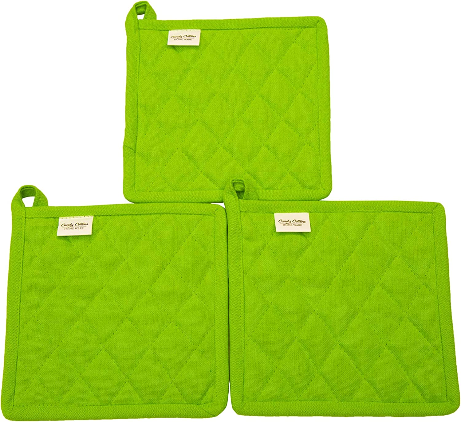 "Pot Holder, Set of 3, 100% Cotton, cotton fabric quilted, 8"" x 8"", Lime green, Machine Washable and Heat Resistant Pocket Mitts for Kitchen Cooking and Baking"