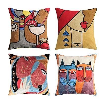 Topfinel Lot de 4 Housse de Coussin Picasso