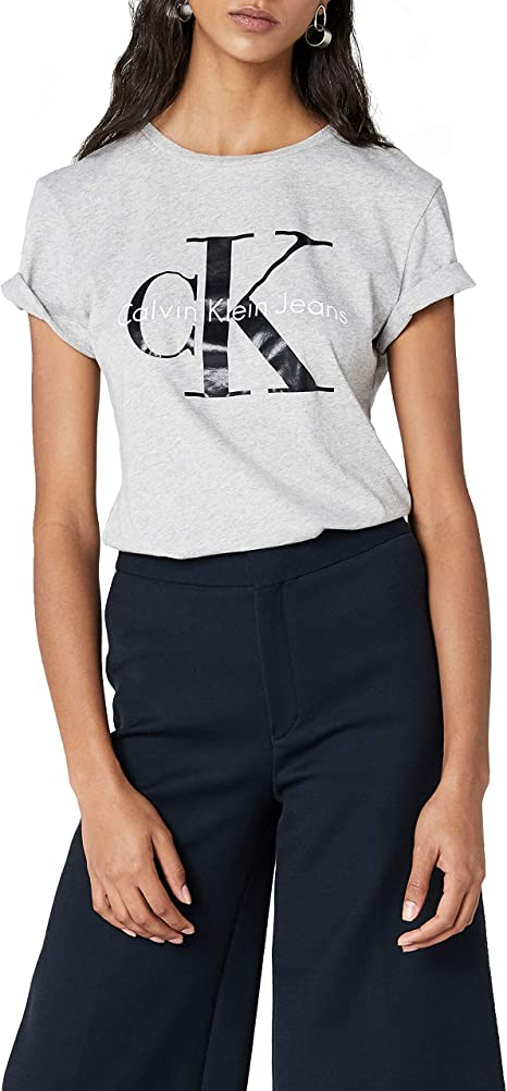 Empresa chisme Esperanzado  Calvin Klein Jeans Damen Shrunken Tee True ICON T-Shirt, Grau (Light Grey  Heather 038), X-Large: Amazon.de: Bekleidung