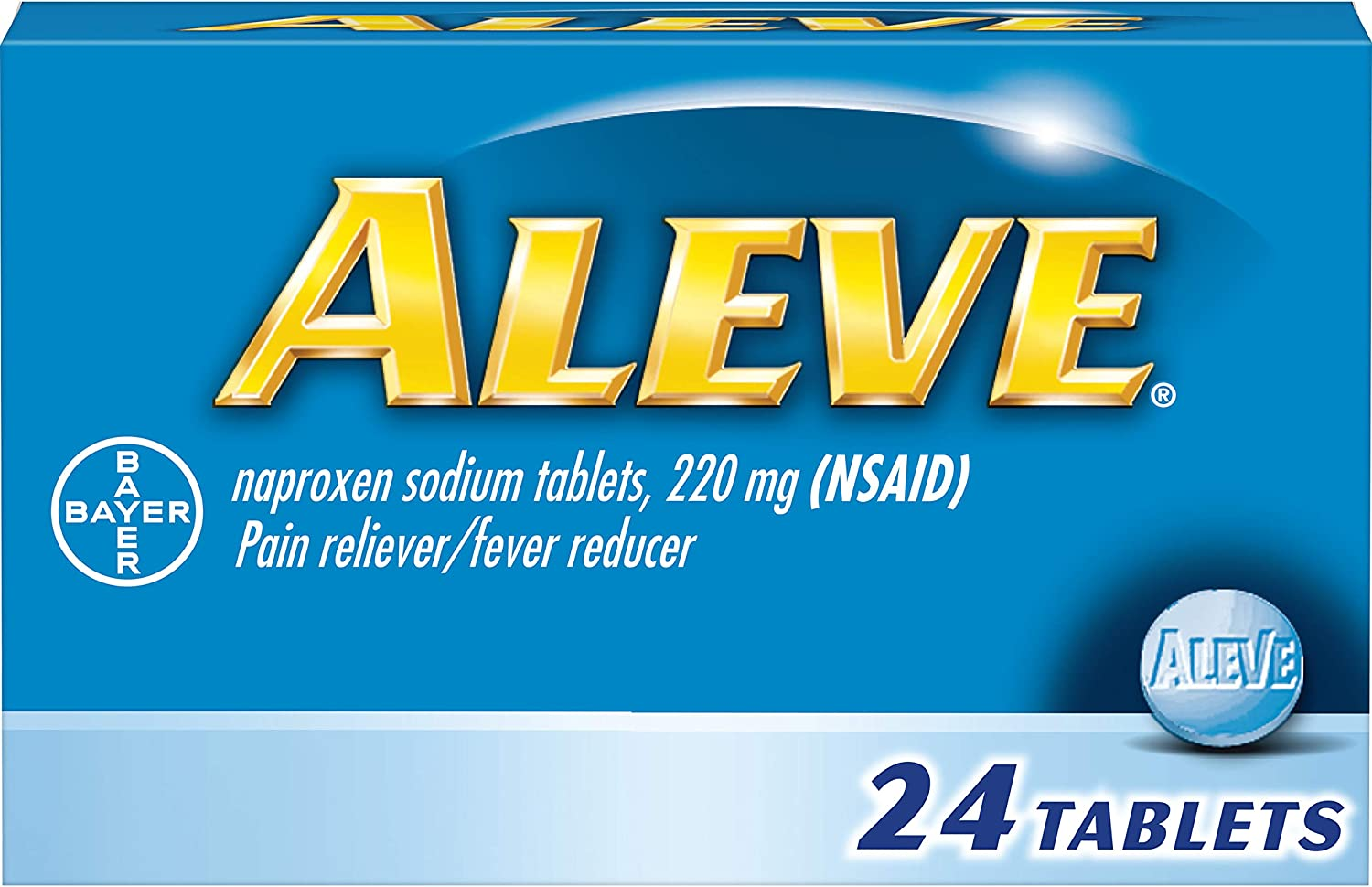 Aleve Tablets with Naproxen Sodium, 220mg (NSAID) Pain Reliever/Fever Reducer, 24 Count: Health & Personal Care