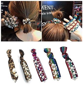 2019 New Women Pearl Beads Hair Scrunchies Ladies Ponytail Holder Hair Ties Elastic Hair Bands Rubber Ropes Hair Accessories Apparel Accessories