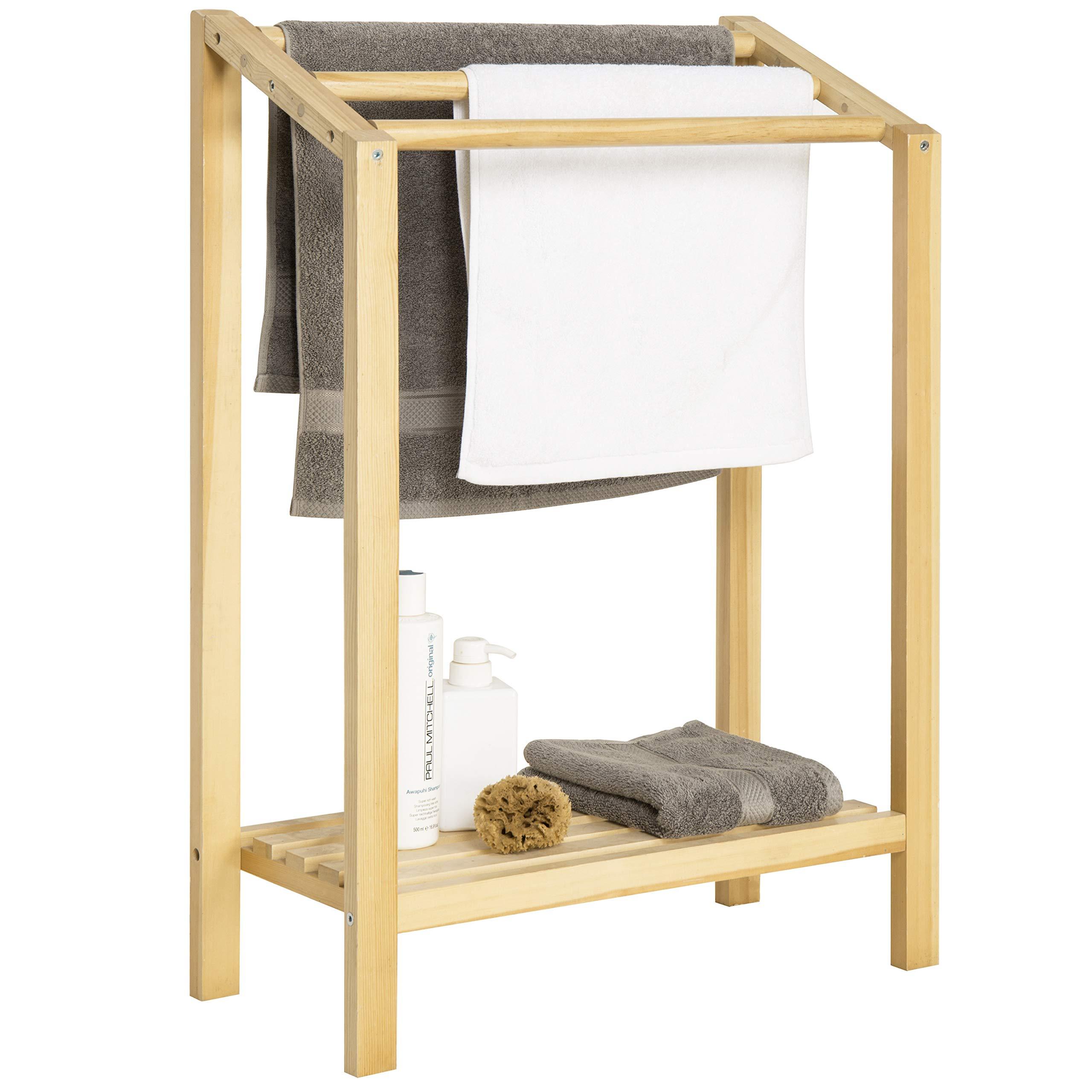 MyGift 3-Bar Freestanding Natural Wood Bathroom Towel Rack with Bottom Shelf