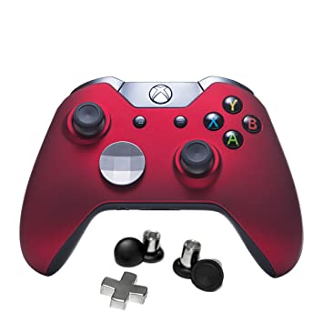 7 Watts Xbox One Bravo (Elite Style) Modded Controller, Soft Touch Red Shell