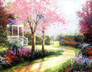 5D Diamond Painting Kits for Adults, DIY Full Drill Cross Stitch Handicraft, for Home Wall Decorative Arts Crafts, Cherry Blossoms(12x16inch)