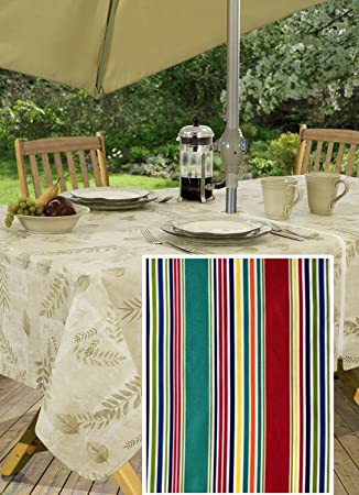 Winslow Summer Stripe Indoor/Outdoor Soil Resistant And Water Repellent  Fabric Tablecloth   Patio,