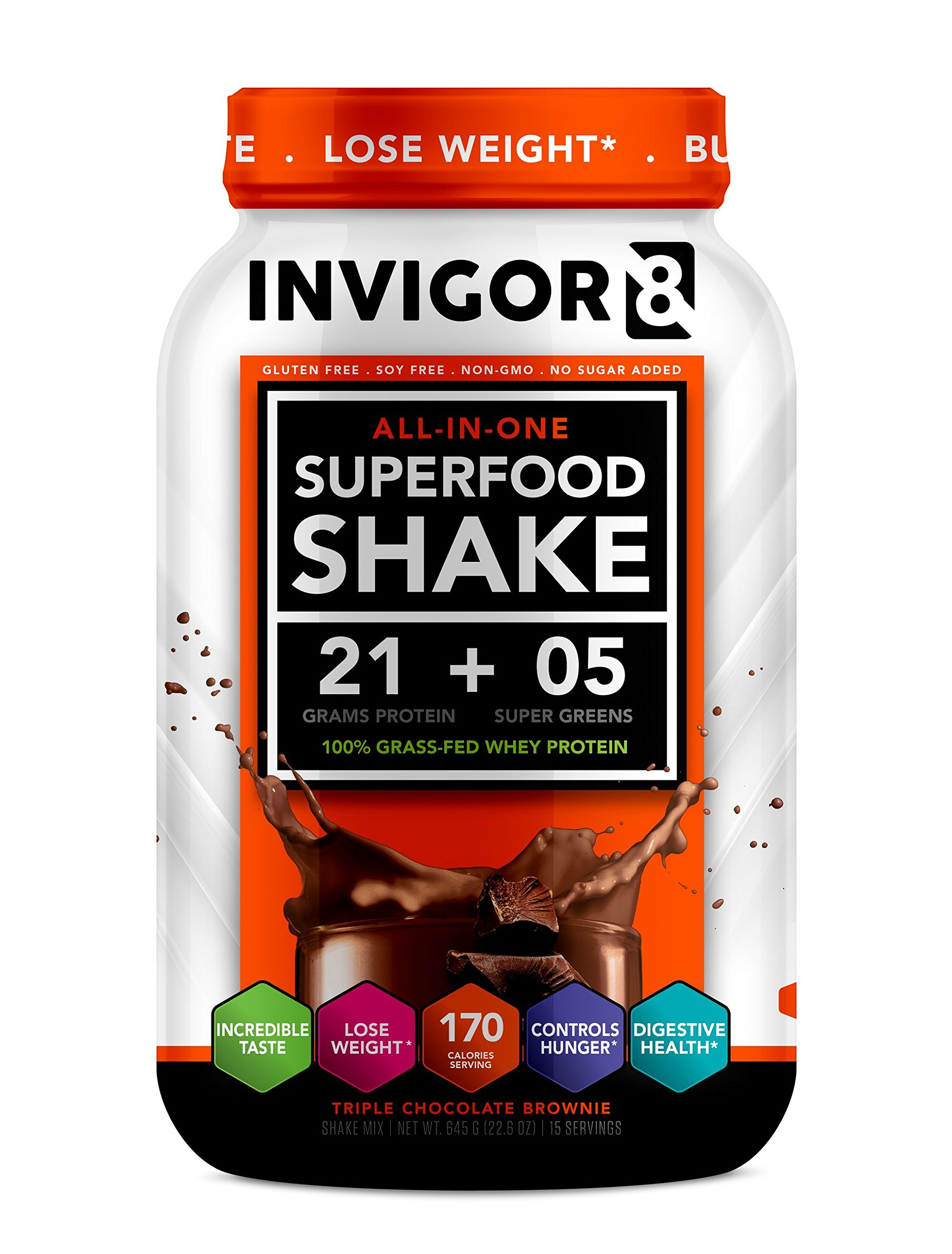 INVIGOR8 Superfood Shake (4 Pack Chocolate) Gluten-Free Non GMO Meal Replacement Grass-Fed Whey Protein Shake with Probiotics and Omega 3 (2580g) by INVIGOR8