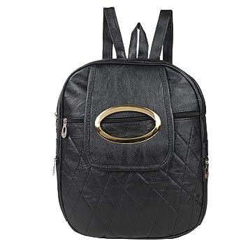 7f7b32eb962b Rajni Fashion PU Leather Backpack School Bag Student Backpack Tuition Bag  Women Travel Bag (8L) Black  Amazon.in  Bags