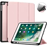 Fintie iPad 9.7 2018 Case with Built-in Apple Pencil Holder - [SlimShell] Lightweight Soft TPU Back Protective Stand Cover with Auto Wake/Sleep for Apple iPad 2018 9.7 Inch (6th Gen) - Rose Gold