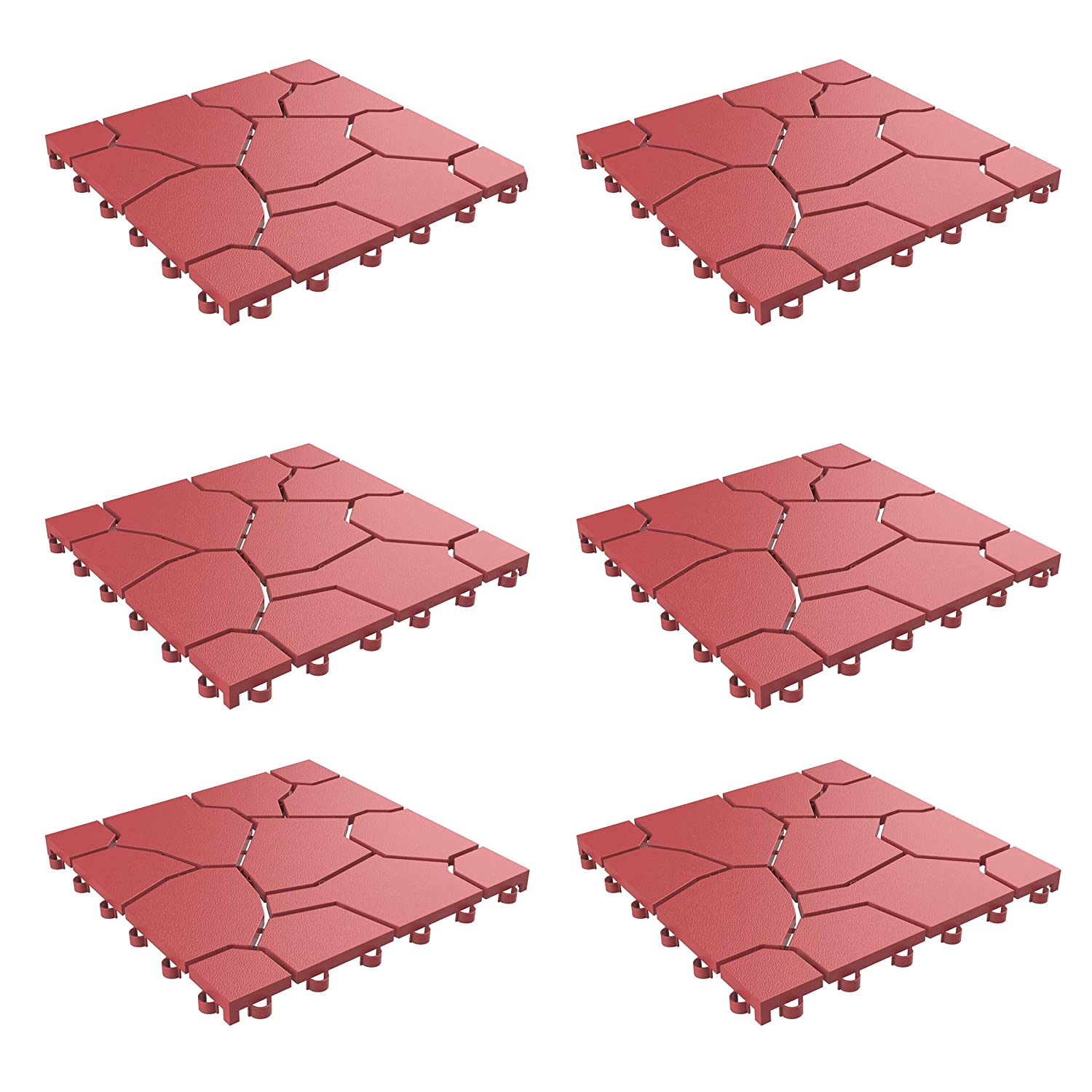 Pure Garden 50-LG1172 Patio and Deck Tiles – Interlocking Look Outdoor Flooring Pavers Weather Resistant and Antislip Square DIY Mat (Brick Red 6 Pack)