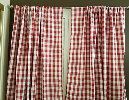 lovemyfabric Gingham/Checkered 100 Polyester Curtain Window Treatment/Decor Panel-Red and White 2