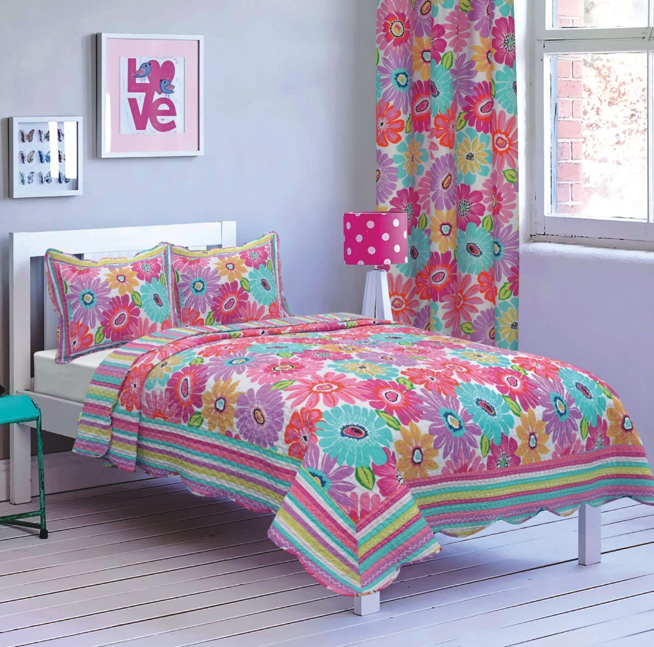 All American Collection New 4pc Flower Printed Bedspread Set w/ Matching Curtains Pink/Purple