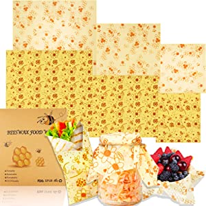 Beeswax Wrap Reusable Food Wrap 6 Pack Eco Friendly Plastic Wrap Alternative for Food Storage Bee Wrapping Paper Sheets with Wax Zero Waste Biodegradable Sandwich Wrappers 2S 2M 2L