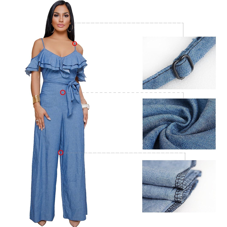 0cfb9018e459 Amazon.com  Women Summer Casual Tunic Denim V Neck High Waist Wide Leg  Pants Jumpsuit Blue M  Clothing