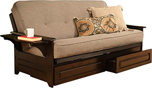 Kodiak Furniture Phoenix Futon Set with Espresso Finish and Storage Drawers, Included, Linen Stone Mattress