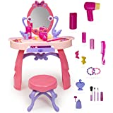 Girls Vanity Table with Mirror and Bench - Pretend Hair Styling Set - 28 Piece Toddler Makeup Play Set for Ages 3+