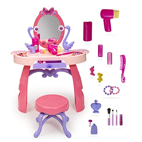 Girls Vanity Table With Mirror And Bench   Pretend Hair Styling Set   28  Piece Toddler