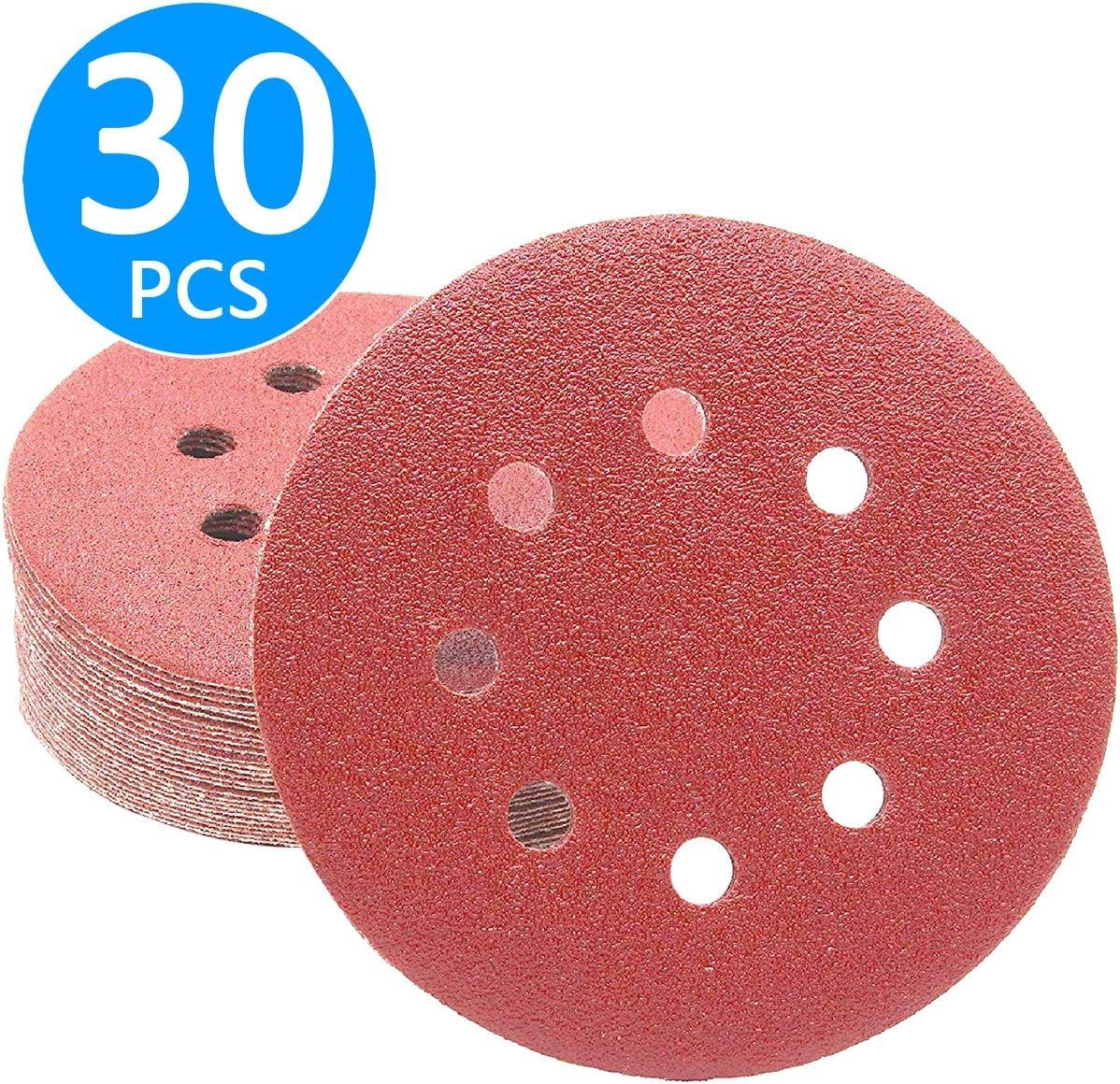 grano 240 8 agujeros para lijadora exc/éntrica 30 unidades Discos de lija con velcro papel arenoso 125 mm