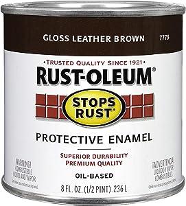 Rust-Oleum 7775730 Protective Enamel Paint, 8-Ounce, Leather Brown