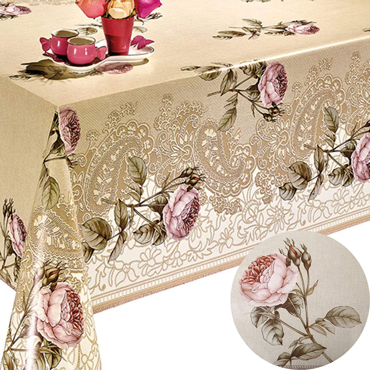 Decoser Heavy Duty Flannel Backed Vinyl Tablecloth with Flannel Backing Easy to Wipe-Clean Oilcloth Waterproof Plastic Rectangle 55x72 inch Table Cover Beige