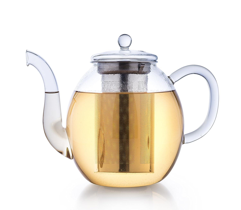 Creano Théière de verre, infuseur de thé 3 pièces avec tamis intégré en Inox et couvercle en verre, idéal pour la préparation de thés en vrac, ne goutte pas, tout en un, 1.0L 297