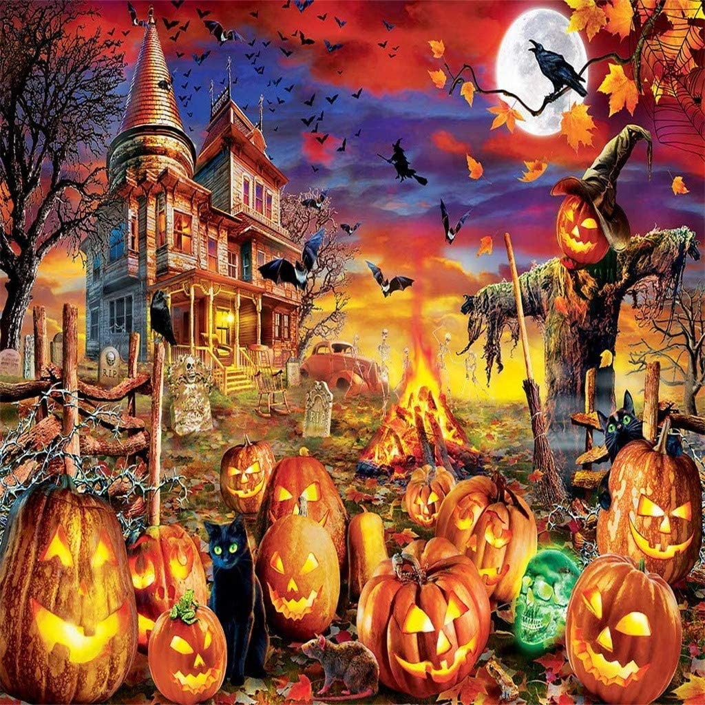 Halloween fo Puzzles 1000 Piece Halloween Family Decorations Pattern Toy DIY Wall Art Home Decor Jigsaw Puzzles Suitable for Teenagers and Adults,Child A