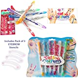 6 TEMPORARY TATTOO Gel Pens -Semi Pemanent, Body Glitter, Skin Tattoo with Patterened STICKER STENCILS, Children's Colourful Body Art INCLUDES Set of 3 BROW Stencils