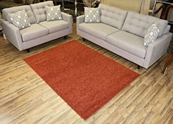 RugStylesOnline, Shaggy Collection Shag Area Rugs, 5u0027x7u0027   Burnt Orange Part 46