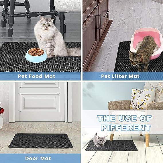 "Amazon.com: FOCUSPET Cat Litter Mat Litter Trapper Size 26"" X 22"", Waterproof Honeycomb Double-Layer Design, Easy Clean Urine Proof EVA Material Pet Litter ..."