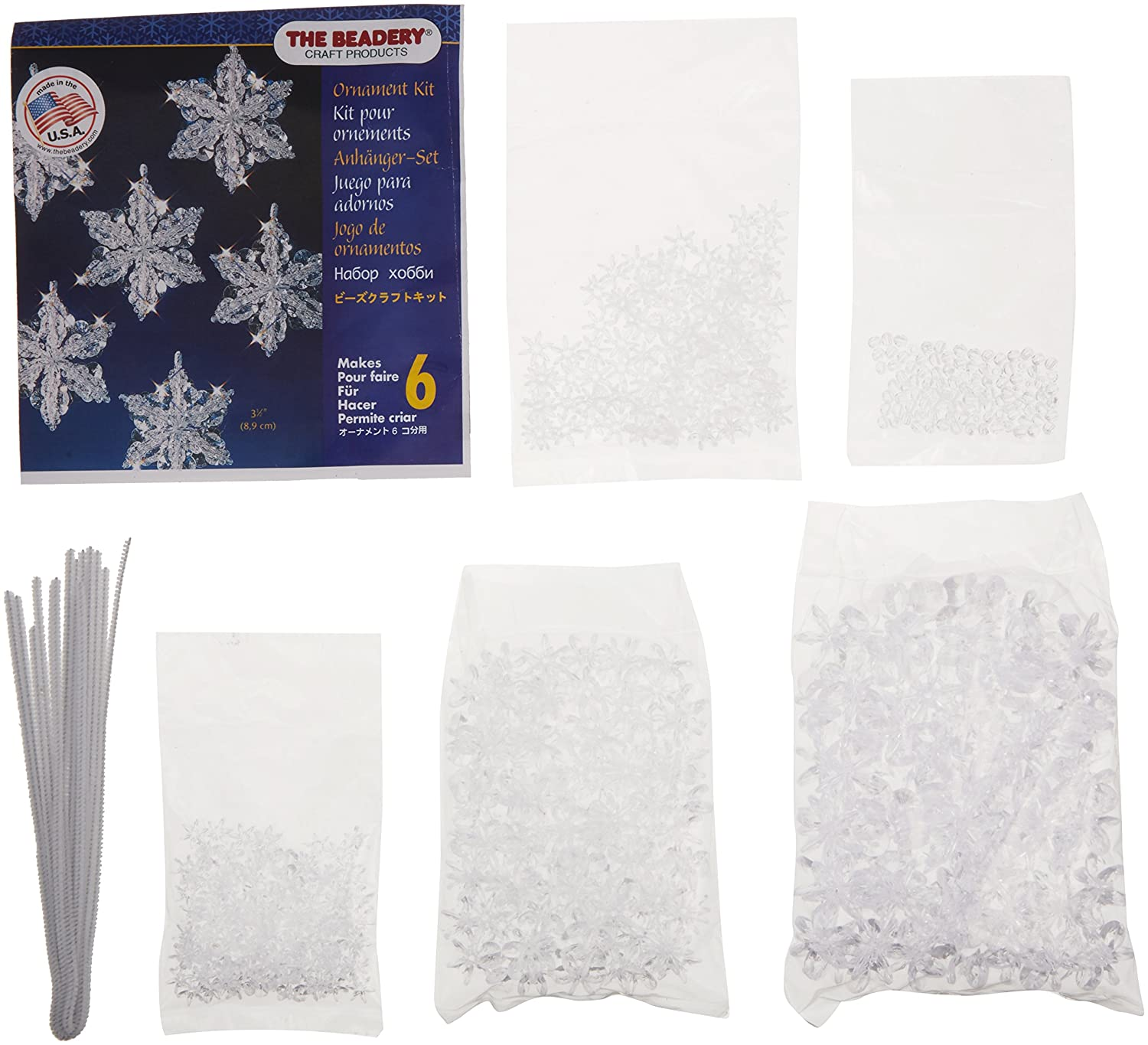 Beadery Plastic Holiday Beaded Ornament Kit Snow Crystals 3.5-inch Makes 6 BOK-5532