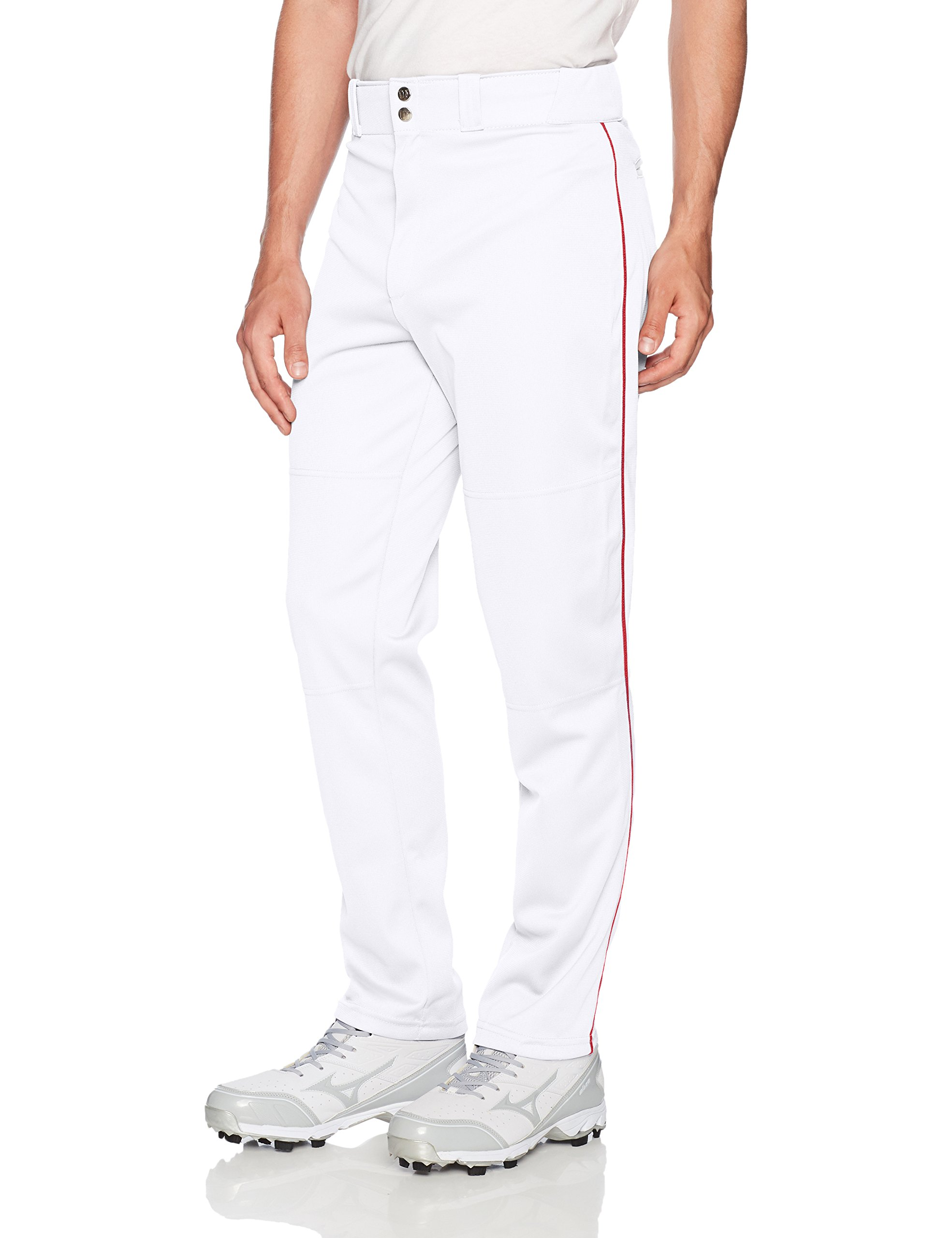 Wilson Men's Classic Relaxed Fit Piped Baseball Pant, White/Scarlet, Small by Wilson