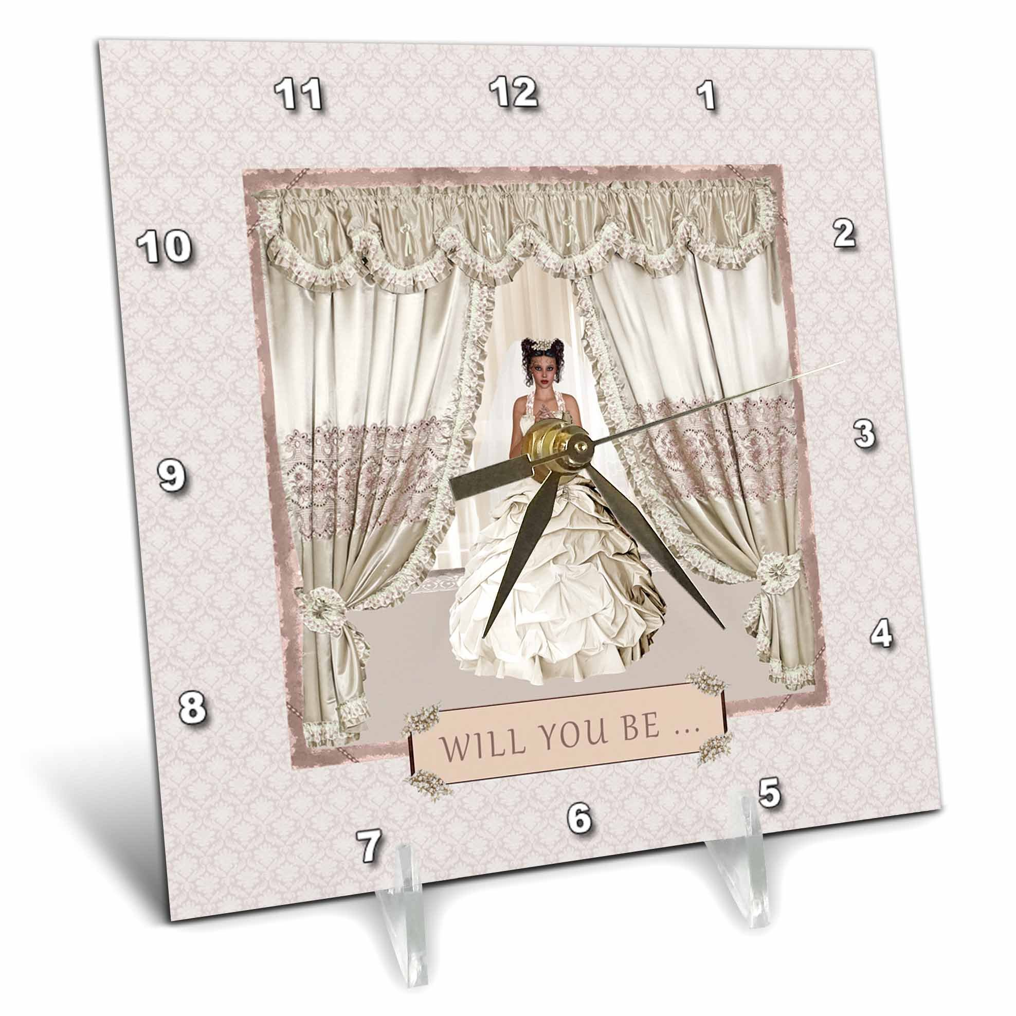 3dRose Beverly Turner Wedding Bridal Party Design - Bride in Wedding Gown, Drapes in Window, Will you be, Cream and Rose - 6x6 Desk Clock (dc_282067_1)