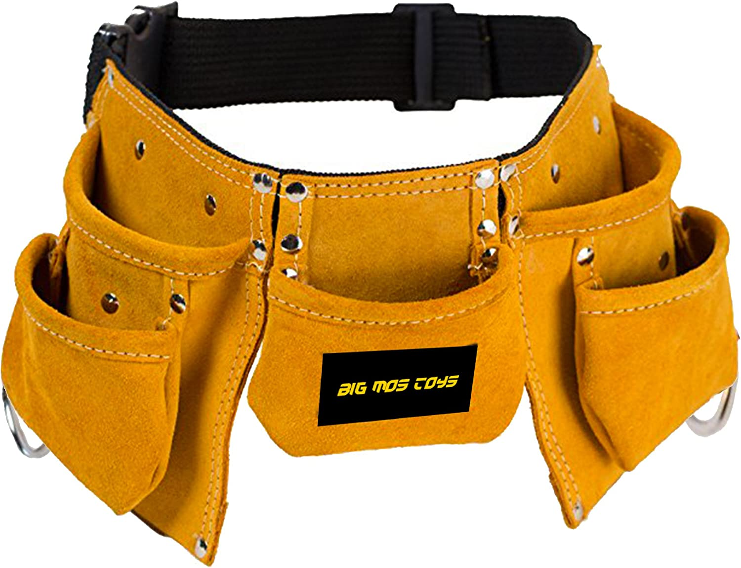 Big Mo's Toys Tool Belt - Kids Brown Faux Suede Pretend Play Belt for Tools with Adjustable Strap