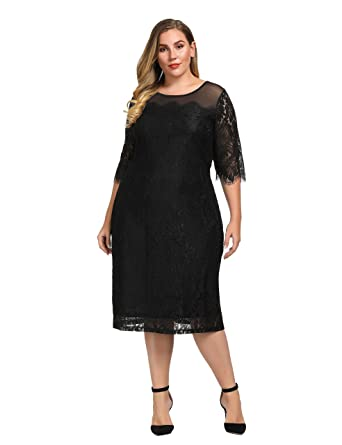 ecedecf82b3 Chicwe Women s Plus Size Guipure Applique Shift Dress with Mesh Top- Casual Party  Dress Black